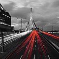 Zakim Bridge And Td Garden Boston Ma Red Tail Lights by Toby McGuire