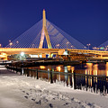 Zakim Bridge In Winter by Denis Tangney Jr
