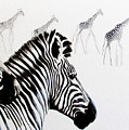 Zebra And Giraffe by Tracey Armstrong