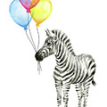 Zebra Watercolor with Balloons by Olga Shvartsur