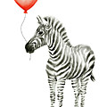 Zebra with Red Balloon Whimsical Baby Animals by Olga Shvartsur