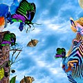 Zebras Birds And Butterflies Good Morning My Friends by Saundra Myles