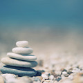 Zen Balanced Pebbles At Beach by Alexandre Fundone