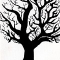 Zen Sumi Tree Of Life Enhanced Black Ink On Canvas By Ricardos by Ricardos Creations
