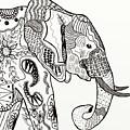 Zentangle Elephant by Becky Herrera
