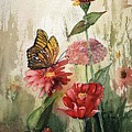 Zinnias And Monarch by Jimmie Trotter