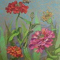 Zinnias With Bee by Annie Scheumbauer