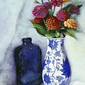 Zinnias With Blue Bottle by Marlene Book