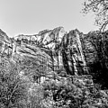 Zion National Park Utah Black White  by Chuck Kuhn