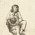 Zittende Jongen Met Hoed Op Schoot Bij Een Deuropening by Abraham van