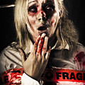 Zombie Woman Expressing Fear And Shock When Waking by Jorgo Photography - Wall Art Gallery