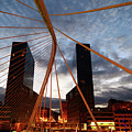 Zubizuri Bridge And Isozaki Towers Bilbao Spain by James Brunker