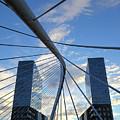 Zubizuri Bridge And Isozaki Twin Towers Bilbao by James Brunker