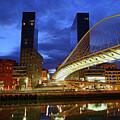 Zubizuri Or Campo Volantin Bridge At Blue Hour Bilbao by James Brunker