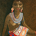 Zulu Woman With Beads by Madalena Lobao-Tello