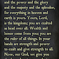 1 Chronicles 29 11-13- Inspirational Quotes Wall Art Collection by Mark Lawrence