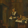 A Woman Asleep By A Fire  by Quiringh van Brekelenkam