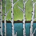 Aspen Trees On The Lake by Vesna Antic