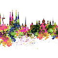Barcelona Watercolor Skyline by Marian Voicu