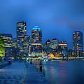Boston Harbor Night Skyline by Joann Vitali