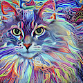Colorful Long Haired Cat Art by Peggy Collins