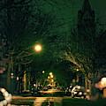Dark Chicago City Street At Night by Bruno Passigatti