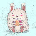 Easter Funny Bunny With Eggs. Vector by Maria Sem