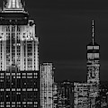 Empire State Building Esb World Trade Center Wtc Nyc  Bw by Susan Candelario