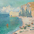 Etretat - The Beach And The Falaise D'amont by Claude Monet