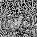 Frog Botanical Ink 2 by Amy E Fraser