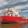 Iver Bright Tanker On The Manistee River by Sue Smith