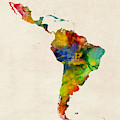 Latin America Watercolor Map by Michael Tompsett