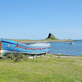 Lindisfarne Castle, Bay And Boat by Victor Lord Denovan