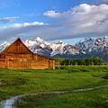 Barn On Mormon Row Morning by Harriet Feagin