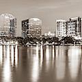 Orlando Florida Skyline Panoramic From Lake Eola Park - Sepia Edition by Gregory Ballos