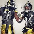 Pittsburgh Steelers.le'veon Bell And Antonio Brown by Nadezhda Zhuravleva