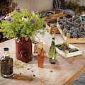Rustic Wooden Table With Various Herbs And Flowers by Stefan Rotter