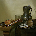 Still Life With Tobacco  Wine And A Pocket Watch  by Willem Claesz  Heda