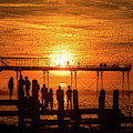 Sunset And Starlings In Aberystwyth by Keith Morris