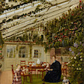 The Family Of Mr  Westfal In The Conservatory  by Eduard Gaertner