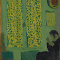 The Green Interior  Figure Seated By A Curtained Window   by Edouard Vuillard