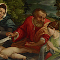 The Holy Family With A Donatrix As Saint Catherine Of Alexandria by Lorenzo Lotto