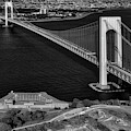 Verrazano Bridge And Fort Wadsworth Aerial by Susan Candelario