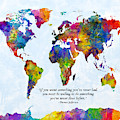 Watercolor World Map Custom Text Added by Michael Tompsett