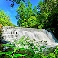 Waterfall Over Weir Dam Blue Ridge Parkway Virginia by The American Shutterbug Society