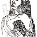 Woman Holding A Hat by Artist Dot