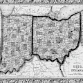 1860 County Map Of Ohio And Indiana Black And White by Toby McGuire