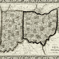 1860 County Map Of Ohio And Indiana Sepia by Toby McGuire