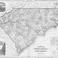 1865 Map Of North And South Carolina Nc Sc Black And White by Toby McGuire