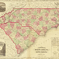 1865 Map Of North And South Carolina Nc Sc by Toby McGuire